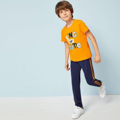 Boys Neon Orange Slogan Tee and Striped Sweatpants Set