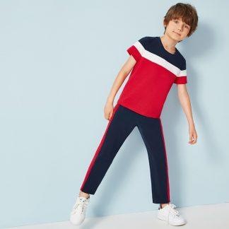 Boys Colorblock Tee & Contrast Side Pants Set