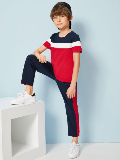Boys Colorblock Tee & Contrast Side Pants Set