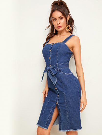 Button Front Raw Hem Belted Skinny Denim Dress