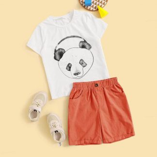 Boys Panda Print Tee & Cuffed Shorts Set