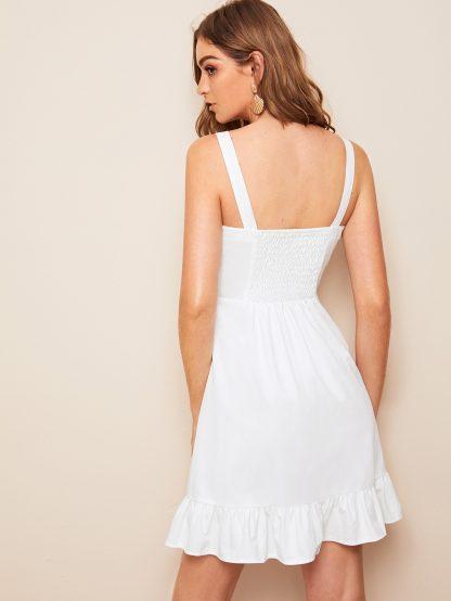 Shirred Ruffle Hem Denim Dress