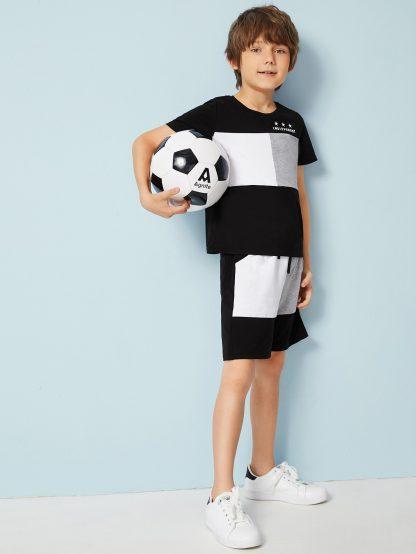 Boys Mixed Print Colorblock Top and Shorts Set