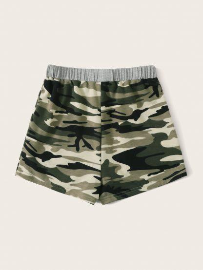 Girls Elastic Waist Tie Front Camo Shorts
