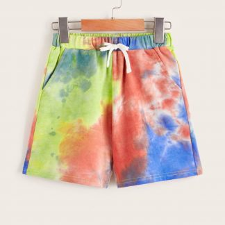 Boys Drawstring Waist Slant Pocket Tie Dye Shorts