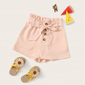 Girls Button Fly Paperbag Waist Shorts