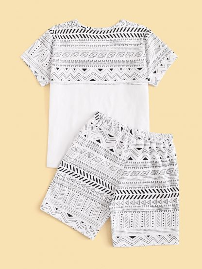 Boys Tribal Print Tee With Shorts