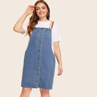 Plus Button Front Denim Straps Dress