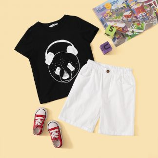 Boys Cartoon Print Tee and Rolled Hem Shorts Set