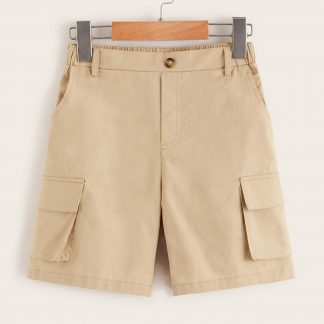Boys Elastic Waist Back Flap Pocket Shorts