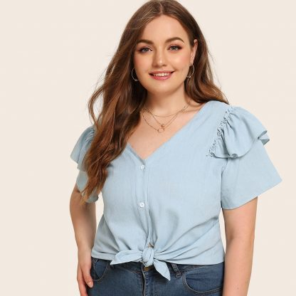 Plus Ruffle Trim Button Front Tie Front Denim Blouse