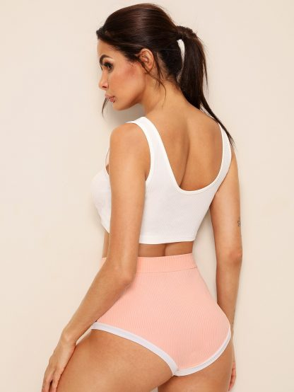 Ribbed Tank Top With Contrast Trim Shorts