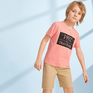 Boys Slogan Print Tee and Slant Pocket Shorts Set