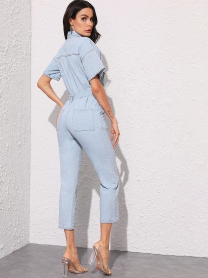 Button Front Belted Straight Leg Denim Jumpsuit