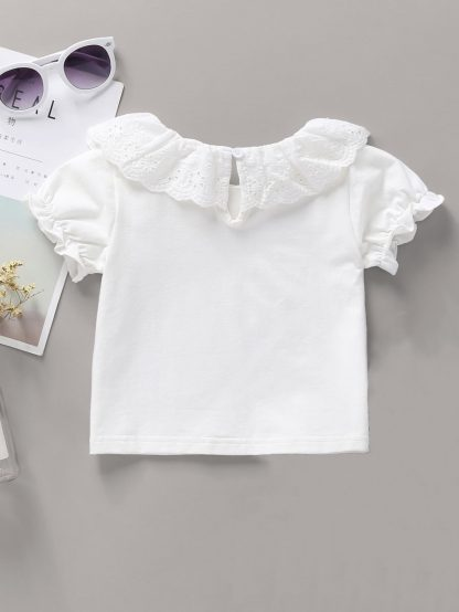 Baby Girl Eyelet Embroidery Frill Trim Top
