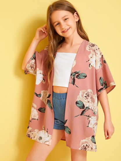 Girls Drop Shoulder Open Front Floral Print Kimono