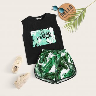 Boys Tropical and Letter Tank Top and Dolphin Shorts Set
