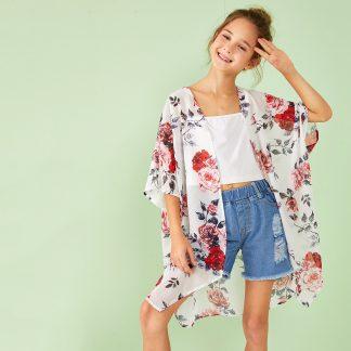 Girls Open Front Floral Print Kimono