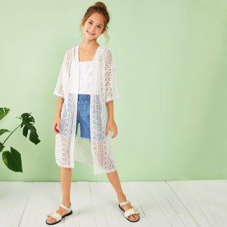Girls Open Front Sheer Lace Overlay Kimono
