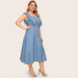 Plus Button Front Ruffle Cuff Denim Dress