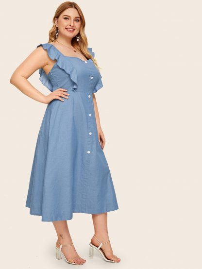 Plus Button Front Ruffle Cuff Denim Dress