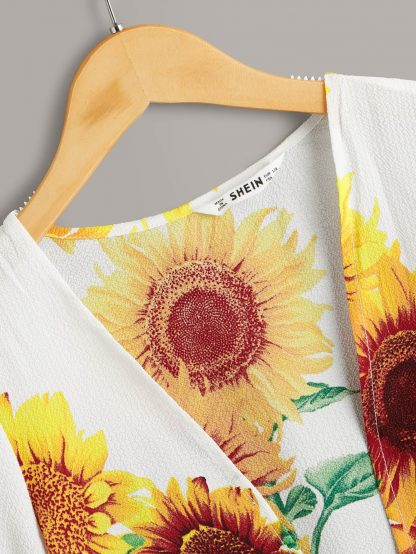 Girls Sunflower Print Open Front Ruffle Cuff Kimono