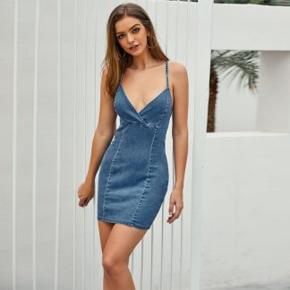 Criss Cross Backless Slip Denim Dress
