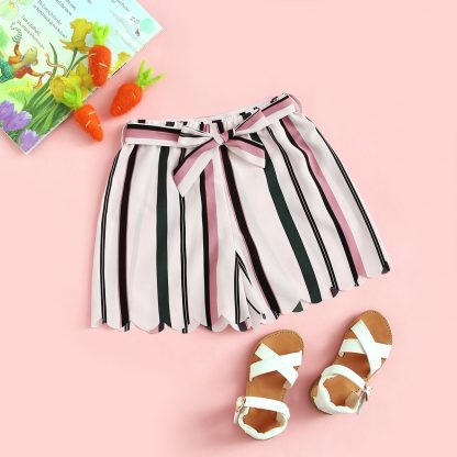 Toddler Girls Striped Print Belted Shorts