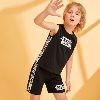 Boys Slogan Print Contrast Tape Tank Top & Shorts Set