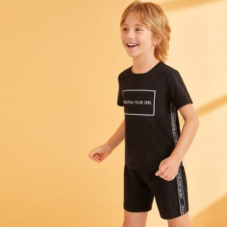 Boys Slogan Tape Side Tee and Shorts Set