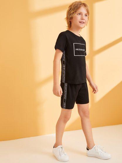 Boys Slogan Tape Side Tee and Shorts Set