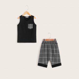 Boys Grid Print Patch Pocket Tank Top & Shorts Set