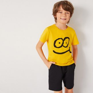 Boys Cartoon Print Tee and Slant Pocket Shorts Set