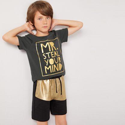 Boys Metallic Slogan Print Top and Track Shorts Set