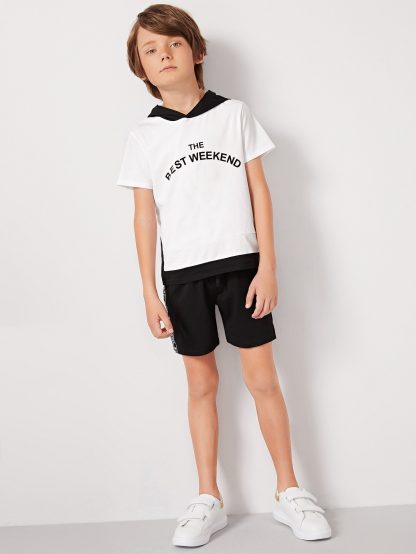 Boys Two Tone Slogan Hoodie and Tie Waist Shorts Set