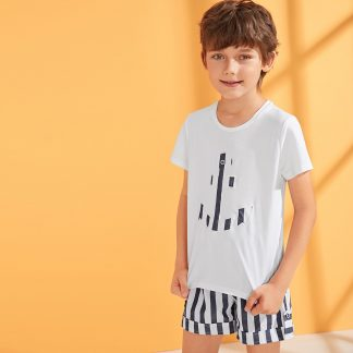 Boys Embroidered Detail Tee & Striped Cuffed Shorts Set